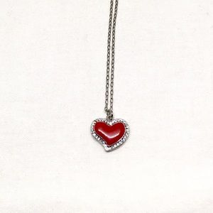 Jewelry - Vintage Red Heart & Rhinestone Necklace